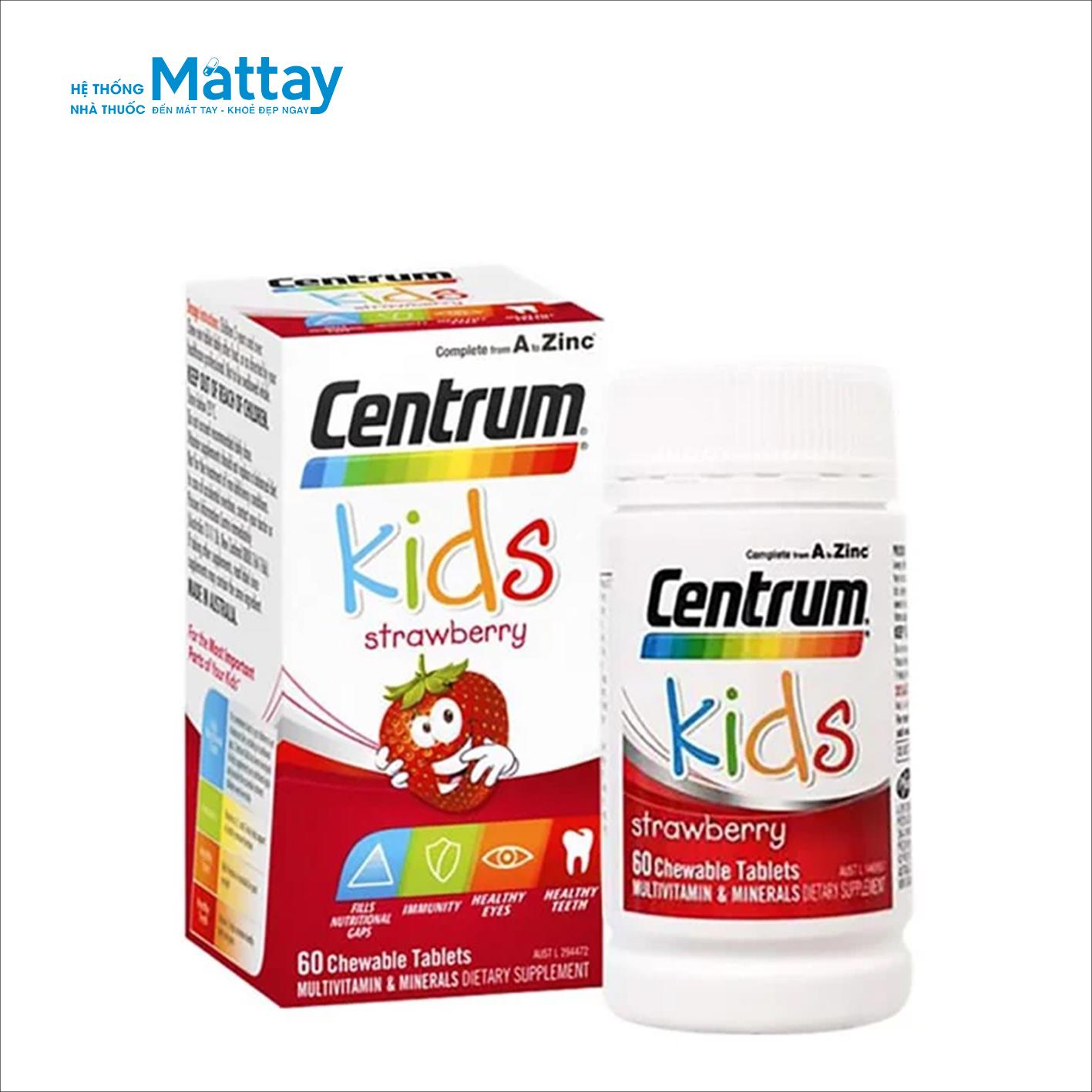 Centrum Viên Uống Bổ Sung Vitamin Tổng Hợp Cho Trẻ Em Kids Strawberry 60 Viên