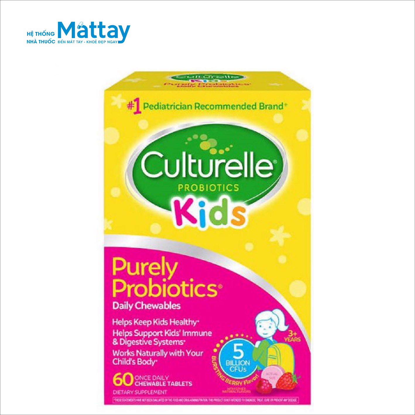 Culturelle Probiotics Daily Kids Packets – Men vi sinh giúp cân bằng đường ruột, giúp bé ăn ngon hơn