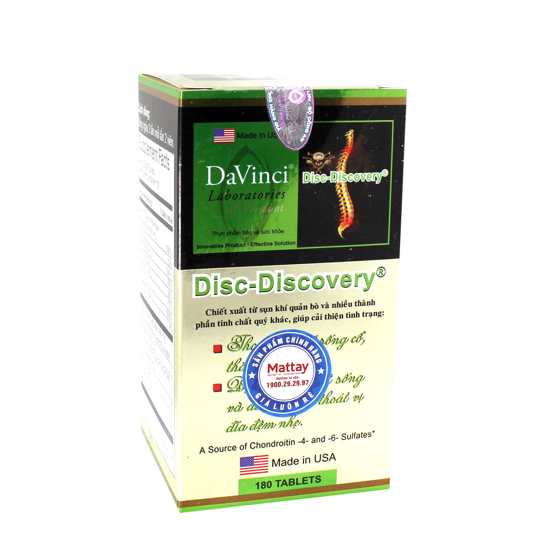 Davinci Viên Uống Disc-Discovery – HỘP 180 VIÊN – Hỗ Trợ Xương Khớp Điều Trị Thoát Vị Đĩa Đệm