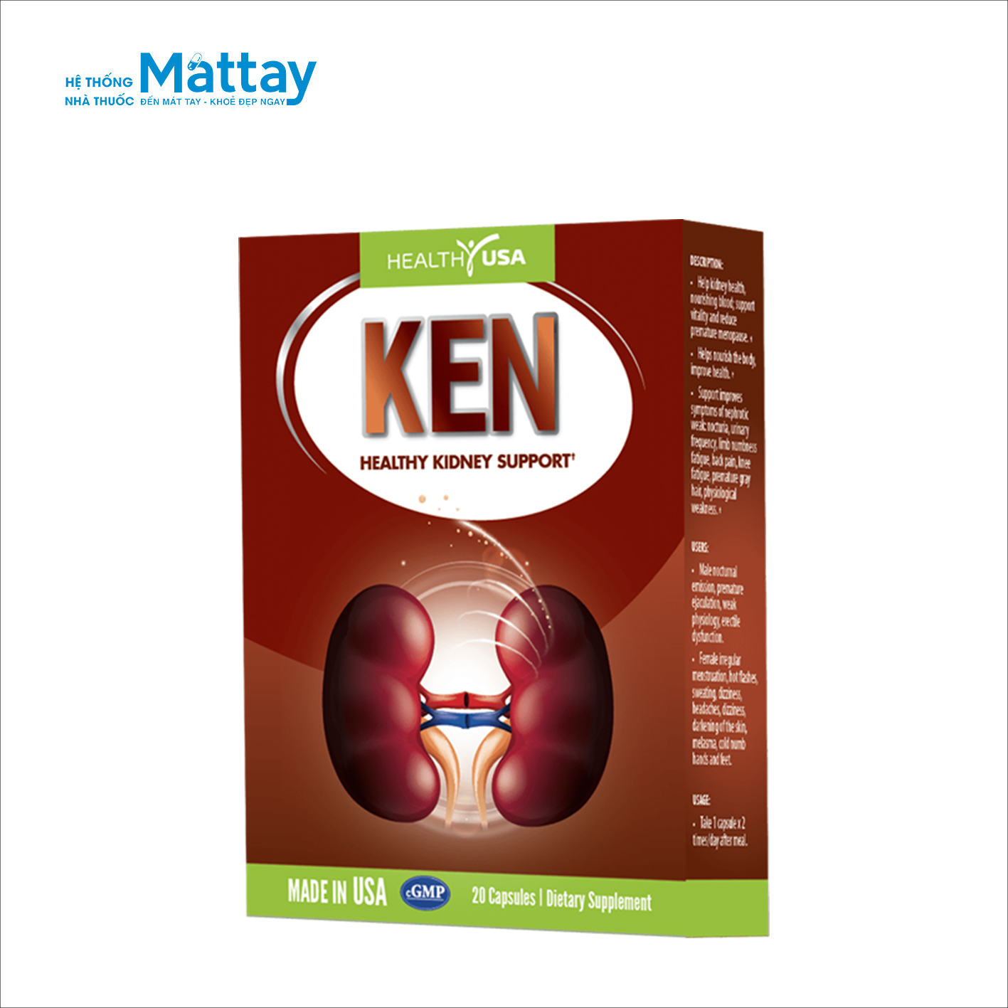 Healthy USA Ken Healthy Kidney Support – Giúp bổ thận, hết tiểu đêm