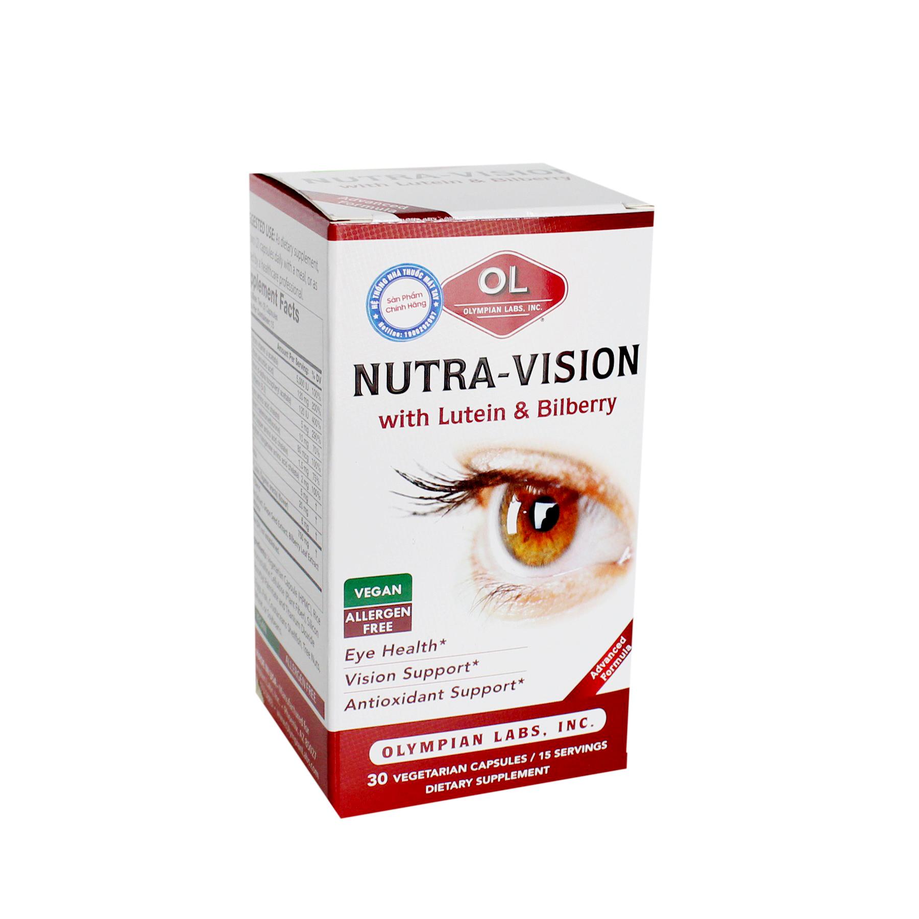Viên Dưỡng Mắt NUTRA-VISION With Lutein & Bilberry  – Hỗ Trợ Bảo Vệ & Kéo Dài Thị Lực Mắt